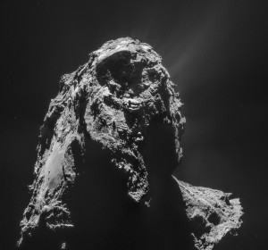 This four-image mosaic comprises Rosetta navigation camera images taken from a distance of 18 miles (28.4 kilometers) from the center of Comet 67P/Churyumov-Gerasimenko on January 16. Credit: ESA/Rosetta/NAVCAM – CC BY-SA IGO 3.0