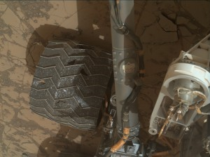 Real wheel wear! Curiosity's Mars Hand Lens Imager snagged this image on January 14, 2015, Sol 868 of the Mars Science Laboratory Mission. Image Credit: NASA/JPL-Caltech/MSSS