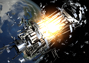 In-orbit explosions can be related to the mixing of residual fuel that remain in tanks or fuel lines once a rocket stage or satellite is discarded in Earth orbit. The resulting explosion can destroy the object and spread its mass across numerous fragments with a wide spectrum of masses and imparted speeds.  Credit: ESA