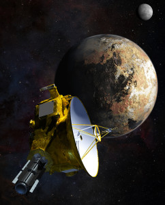 Artist's concept of NASA's New Horizons spacecraft as it passes Pluto and Pluto's largest moon, Charon, in July 2015. Credit: NASA/JHU APL/SwRI/Steve Gribben