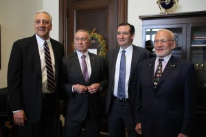 Left to right: Mike Massimino, Walt Cunningham, Senator Ted Cruz, and Buzz Aldrin.