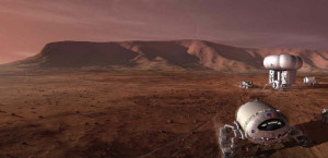 "Planting life on Mars - future ""Martians"" set up habitats on the Red Planet. Credit: NASA"