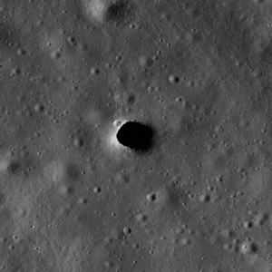 Skylights on the Moon are collapses that occur over subsurface voids. Skylights occur in many terrestrial lava tubes, providing access, although sometimes requiring shimming down a rope. If the skylight roof is too thin, their edges may collapse, making them dangerous places to stand.  Shown here is a skylight in the Moon's Marius Hills.  Credit: NASA/GSFC/Arizona State University