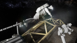 Astronaut investigates the boulder captured from an asteroid. Shown is an astronaut, anchored to a foot restraint, preparing to investigate the asteroid boulder.  Credit: NASA