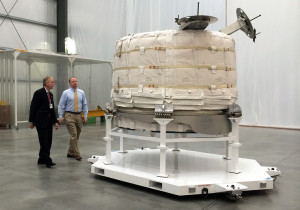 William Gerstenmaier, NASA's associate administrator for human exploration and operations, and Jason Crusan, director of the agency's advanced exploration systems division, view the Bigelow Expandable Activity Module at Bigelow's facility in Las Vegas on March 12. Image Credit: Stephanie Schierholz