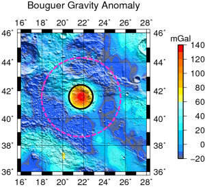 The Earhart crater, a previously unknown lunar crater, is outlined in the magenta dash circle. A team of researchers at Purdue University found the crater through an analysis of data from NASA's Gravity Recovery and Interior Laboratory mission. The team provisionally named the crater Earhart, after the famous aviator Amelia Earhart. (Purdue University image/courtesy of Rohan Sood)