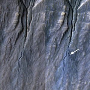 NASA's Mars Reconnaissance Orbiter (MRO) has documented gully formation on the Red Planet. Researchers contend that these gullies are primarily formed by the seasonal freezing of carbon dioxide - not liquid water. Credit: NASA/JPL-Caltech/Univ. of Arizona