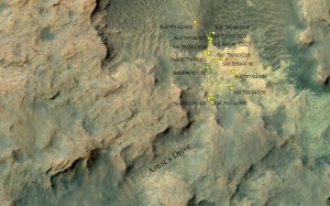 "This area at the base of Mount Sharp on Mars includes a pale outcrop, called ""Pahrump Hills,"" that NASA's Curiosity Mars rover investigated from September 2014 to March 2015, and the ""Artist's Drive"" route toward higher layers of the mountain. Credit: NASA/JPL-Caltech/Univ. of Arizona"
