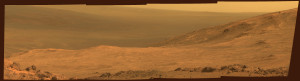 "This March 13 view from NASA's Opportunity Mars rover shows part of ""Marathon Valley,"" a destination on the western rim of Endeavour Crater, as seen from an overlook north of the valley.  Image Credit: NASA/JPL-Caltech/Cornell Univ./Arizona State Univ."