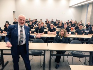 Dr. Buzz Aldrin meets with Purdue students before the Aldrin-Purdue Cycler Feasibility Study Presentation on April 23, 2015.  Photo by Christina Korp