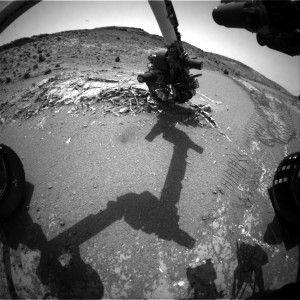 This image was taken by Curiosity's Front Hazcam: Right B on April 8, 2015, Sol 949. Image Credit: NASA/JPL-Caltech