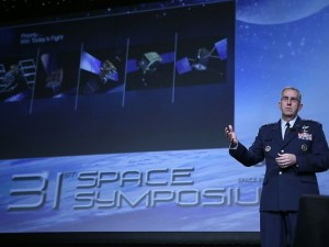 USAF Gen. John Hyten, the head of Air Force Space Command, at 31st National Space Symposium held in Colorado Springs. Credit: The Space Foundation