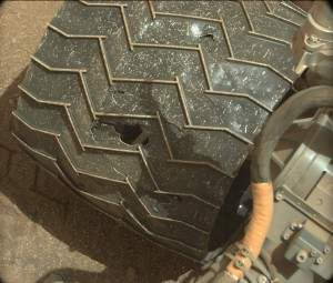 Curiosity rover made use of its Mastcam: Left camera on April 21,2015, Sol 962, to take this wheel image. Image Credit: NASA/JPL-Caltech/MSSS