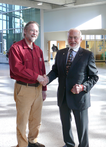Purdue professor James Longuski (left) with Mars-bound Buzz Aldrin. Credit: Project Aldrin-Purdue study