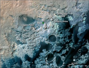 A green star marks the location of NASA's Curiosity Mars rover after a drive on the mission's 957th Martian day, or sol, (April 16, 2015). The map covers an area about 1.25 miles (2 kilometers) wide. The base map uses imagery from the High Resolution Imaging Science Experiment (HiRISE) camera on NASA's Mars Reconnaissance Orbiter. Image Credit: NASA/JPL-Caltech/Univ. of Arizona