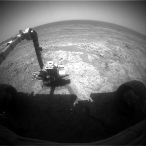 Opportunity Mars rover uses its instrumented robot arm to investigate surface. Front Hazcam, Sol 3993. Credit: NASA/JPL-Caltech