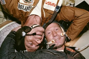 Apollo-Soyuz link-up: On July 17, 1975 two Cold War-rivals met in space.  Credit: NASA