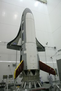 Previous mission photo shows launch processing of a Boeing-built X-37B Orbital Test Vehicle. Credit: Boeing