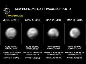A series of new images obtained by the spacecraft's telescopic Long Range Reconnaissance Imager (LORRI) during May 29-June 2 show Pluto is a complex world with very bright and very dark terrain, and areas of intermediate brightness in between. These images afford the best views ever obtained of the Pluto system.  Credit: NASA/Johns Hopkins University Applied Physics Laboratory/Southwest Research Institute