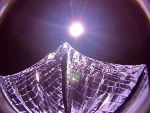 LightSail captured this image of its deployed solar sails in Earth orbit on June 8, 2015.  Credit: The Planetary Society