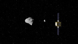 The European Space Agency's (ESA) Asteroid Impact Mission concept, currently under study, would be humanity's first mission to a binary asteroid: the 2,624 feet (800 meter) diameter Didymos is accompanied by a 558 feet (170 meter) diameter secondary body. Credit: ESA–ScienceOffice.org