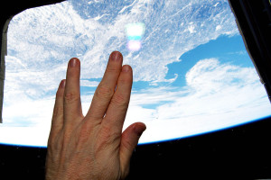 On February 28, 2015, NASA Astronaut Terry Virts took this picture of the Vulcan salute from the International Space Station as it flew above Leonard Nimoy's hometown of Boston.  Credit: NASA