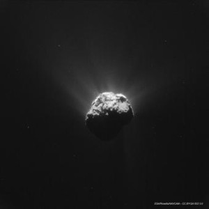 Recent image of the active Comet 67P/Churyumov-Gerasimenko taken from a safe distance by Rosetta orbiter. Credits: ESA/Rosetta/MPS for OSIRIS Team MPS/UPD/LAM/IAA/SSO/INTA/UPM/DASP/IDA