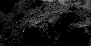 Long distance view taken by the Rosetta orbiter of the comet nucleus may show Philae – but maybe not. Credits: ESA/Rosetta/MPS for OSIRIS Team MPS/UPD/LAM/IAA/SSO/INTA/UPM/DASP/IDA