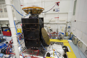 ESA's ExoMars Trace Gas Orbiter (TGO) and Schiaparelli, also known as the ExoMars Entry, descent and landing Demonstrator Module are seen here during vibration testing at Thales Alenia Space, in Cannes, France. Credit: ESA–S. Corvaja, 2015