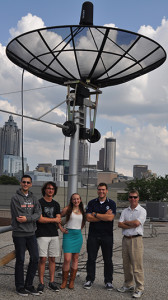LightSail mission control team at Georgia Tech, from left, undergraduates Christopher Pubillones, Nick Zerbonia, Teresa Spinelli, Kevin Okseniuk, and Professor David Spencer. Credit: Georgia Tech