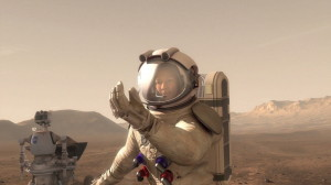 Human working with robot on Mars. Credit: NASA