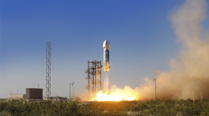 Liftoff of suborbital space tourism, backed by Amazon founder Jeff Bezos. Credit: Blue Origin
