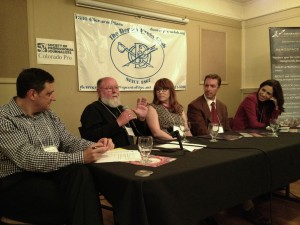 Left to right: Moderator - Gil Rudawsky, Vice President, GroundFloor Media; Leonard David,  Reporter - Inside Outer Space; Laura Keeney, Business Reporter - The Denver Post; Greg Avery, Reporter - Denver Business Journal; and Maya Rodriguez, TV Reporter - KUSA. Photo credit: Barbara David