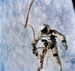 """Gemini 4...get back in!""  On June 3, 1965, Air Force Maj. Ed White became the first American to walk in space. Credit: NASA"