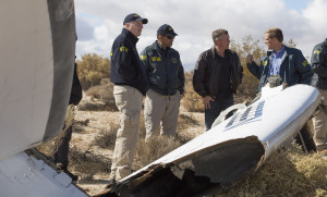 Virgin Galactic pilot Todd Ericson and NTSB investigators at SpaceShipTwo accident site. Credit: NTSB