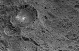 Exploring Ceres and Occator Crater with bright spots. Credit: NASA/JPL