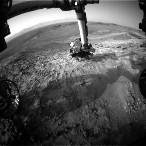 Image taken by Curiosity's Front Hazcam: Left B, July 28 on Sol 1057. Image Credit: NASA/JPL-Caltech