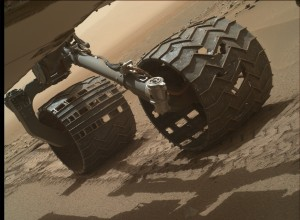 Mars Hand Lens Imager (MAHLI) inspection of wheel wear on Curiosity rover, taken on July 16, 2015, Sol 1046. Credit: NASA/JPL-Caltech/MSSS