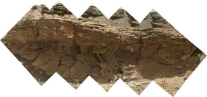 "A rock outcrop dubbed ""Missoula,"" near Marias Pass on Mars, is seen in this image mosaic taken by the Mars Hand Lens Imager on NASA's Curiosity rover.  Credit: NASA/JPL-Caltech/MSSS"