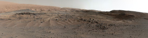 A panorama combining images from both cameras of the Mastcam on NASA's Curiosity Mars Rover shows diverse geological textures on Mount Sharp. Three years after landing on Mars, the mission is investigating this layered mountain for evidence about changes in Martian environmental conditions. Credit: NASA/JPL-Caltech/MSSS