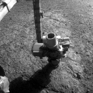 Opportunity Front Hazcam image taken on Sol 4114 shows instrumented robot arm at work. Credit: NASA/JPL