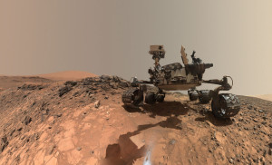 "After taking a low-angle selfie at its latest drilling site, NASA's Curiosity Mars rover has departed the area called ""Marias Pass,"" where it had been working since May. Credit: NASA/JPL-Caltech"