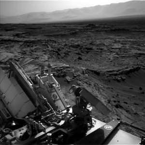 Curiosity Mars rover used its Navcam Left B camera to acquire this image of surrounding and distant terrain on September 20, 2015, Sol 1110. Credit: NASA/JPL-Caltech