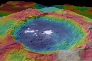 Color-coded topographic map of Occator crater on Ceres produced from Dawn spacecraft imagery. Blue is the lowest elevation, and brown is the highest. The crater, which is home to the brightest spots on Ceres, is approximately 56 miles (90 kilometers wide). Credit: NASA/JPL-Caltech/UCLA/MPS/DLR/IDA