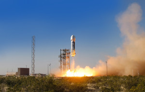 First Developmental Test Flight of New Shepard on April 29, 2015 from his Texas spaceport. Credit: Blue Origin
