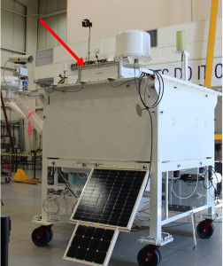 E-MIST mounted to the balloon gondola on Sept. 13, 2015 at the Columbia Scientific Balloon Facility in Ft. Sumner, New Mexico. The big red arrow is pointing to E-MIST. Credit: NASA