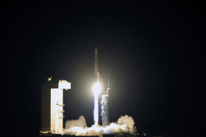 A United Launch Alliance Atlas V rocket carrying a National Reconnaissance Office payload launches skyward on Oct. 8, 2015 from Vandenberg Air Force Base. Also deployed were 13 CubeSats. Credit: U.S. Air Force/Senior Airman Kyla Gifford