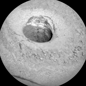 Curiosity ChemCam Remote Micro-Imager shows laser strikes down the hole on Sol 1141, October 22, 2015. Credit: NASA/JPL-Caltech/LANL