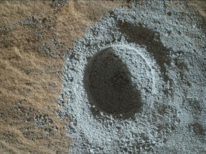 "This Sol 1134 image shows the mini-start hole on ""Pilgrim"" taken by the Mars Hand Lens Imager (MAHLI) on October 15, 2015. Credit: NASA/JPL-Caltech/MSSS"