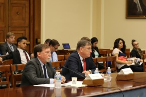 Doug Cooke (left) and Dan Dumbacher testify before House Subcommittee on Space. Credit: Subcommittee on Space